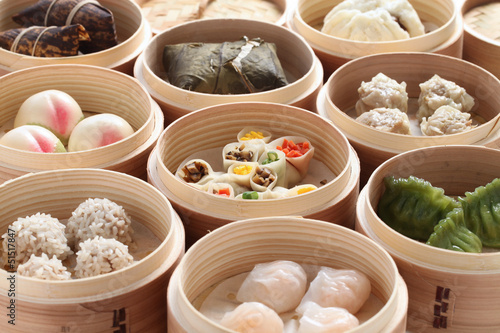yumcha, dim sum in bamboo steamer, chinese cuisine Wallpaper Mural