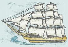 Sailboat. Grunge Style