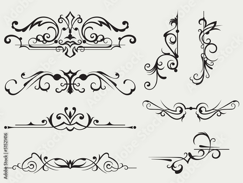 Calligraphic design element and page decoration Canvas Print