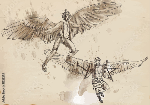 Icarus and Daedalus - drawing converted into vector Fototapet