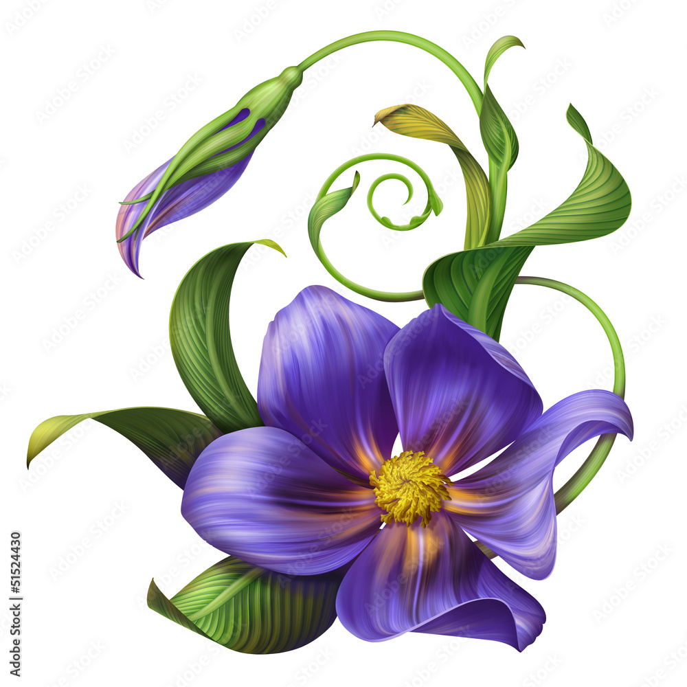 illustration of blue flower with green leaves isolated
