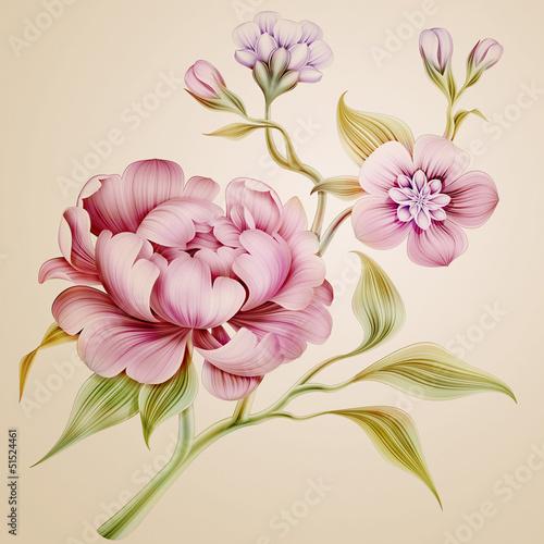 vintage-piwonia-wiosennych-kwiatow-i-lisci-na-bialym-tle