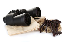 Black Modern Binoculars With Old Keys And Letters Isolated