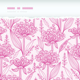 Pink lillies lineart horizontal torn seamless pattern background