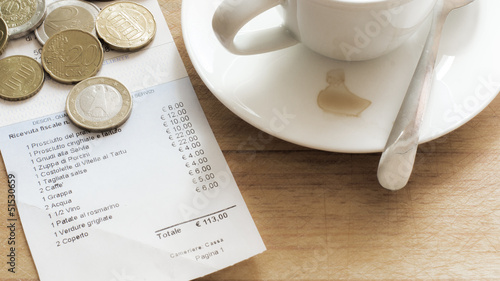Fotografie, Obraz  italienische Rechnung nach einem ausgedehntem Essen
