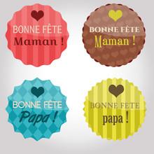 Badges Rétro Fête Des Mères...