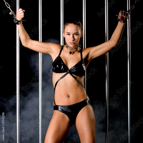 Photo  beautiful woman in lingerie in bondage style