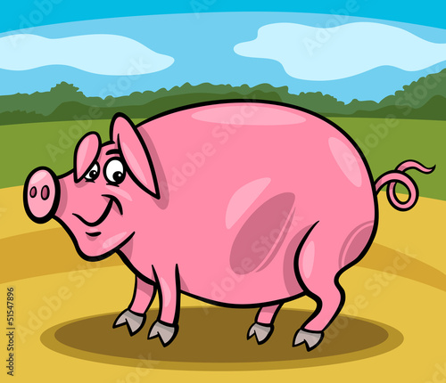 Poster Boerderij pig farm animal cartoon illustration