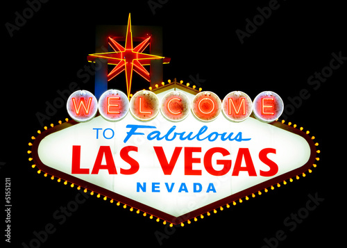 Spoed Foto op Canvas Las Vegas Welcome to Las Vegas sign isolated
