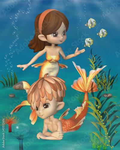 Wall Murals Mermaid Cute Toon Goldfish Merpeople Scene