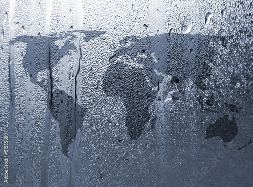 Tuinposter Wereldkaart Water patterns over world map