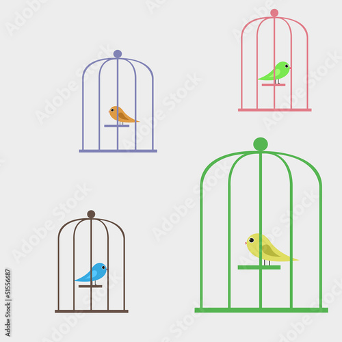Acrylic Prints Birds in cages Vector illustration bird in a cage