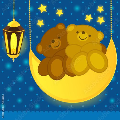 Wall Murals Bears Love bears on the moon