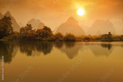 Foto op Aluminium Guilin Sunset landscape of yangshuo in guilin,china