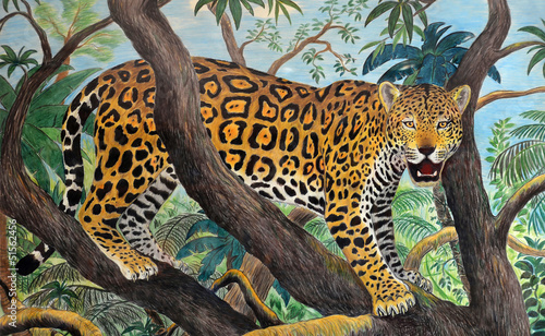 Photographie  pastel drawing of jaguar in the jungle