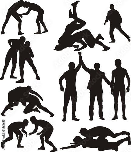 Fotografie, Obraz wrestling silhouettes