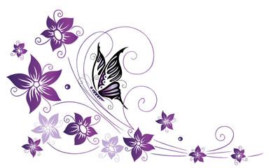 NaklejkaRanke, flora, Blüten, Schmetterlinge, lila, violett