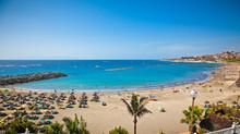Send Beach Playa De Las Americas On Tenerife, Spain.