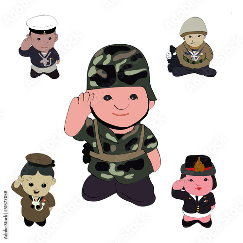La pose en embrasure Militaire mix soilders vector