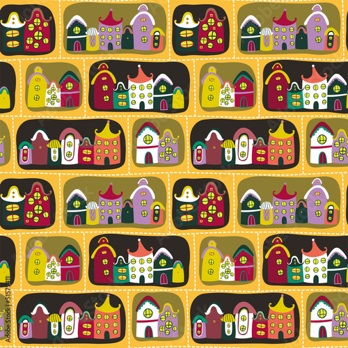 Poster de jardin Route Colorful seamless pattern with road and cartoon houses
