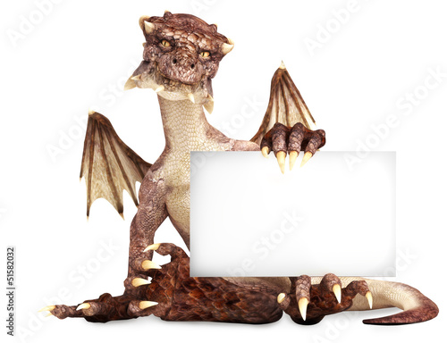 Fantasy dragon holding advertisement blank card, room for text