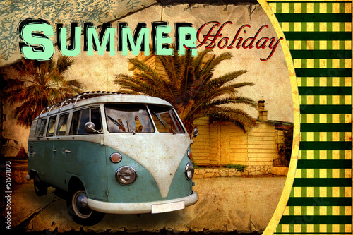 Montage in der Fensternische Weinlese-Plakat Retroplakat - Summer Holiday Postcard