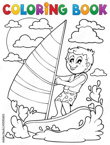 Spoed Foto op Canvas Doe het zelf Coloring book water sport theme 1