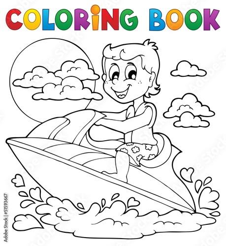 Spoed Foto op Canvas Doe het zelf Coloring book water sport theme 2
