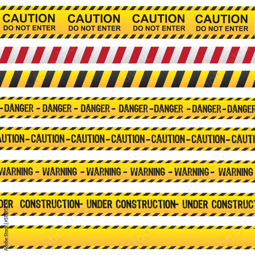 Fotografia  Caution and danger ribbon