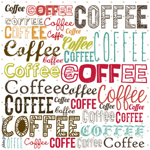Deurstickers Vintage Poster Coffee illustration