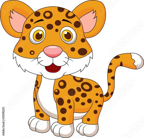 Poster de jardin Zoo Cute baby jaguar cartoon