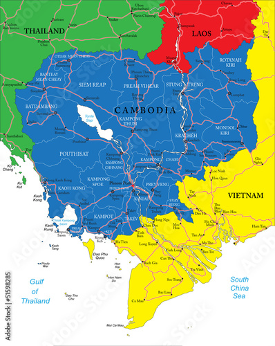 Foto op Canvas Wereldkaart Cambodia map