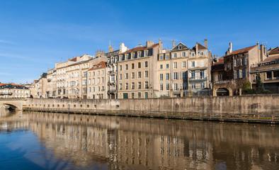 Fototapeta na wymiar View of Metz town over Moselle river - Lorraine, France