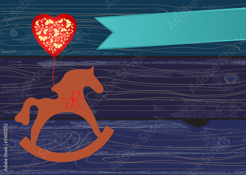 Rocking horse with a heart shaped balloon Canvas-taulu