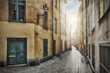 Fototapeta Uliczki - Empty street in Stockholm Old Town