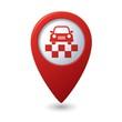 Map pointer with taxi symbol