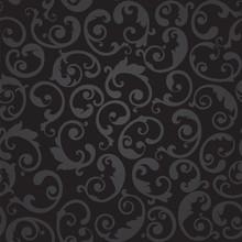 Seamless Black And Grey Swirls Floral Wallpaper Pattern