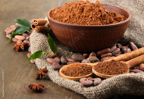 Foto auf AluDibond Gewürze 2 Cocoa powder and cocoa beans on wooden background