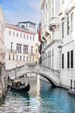Fototapeta City - Venice canal with gondola, Italy