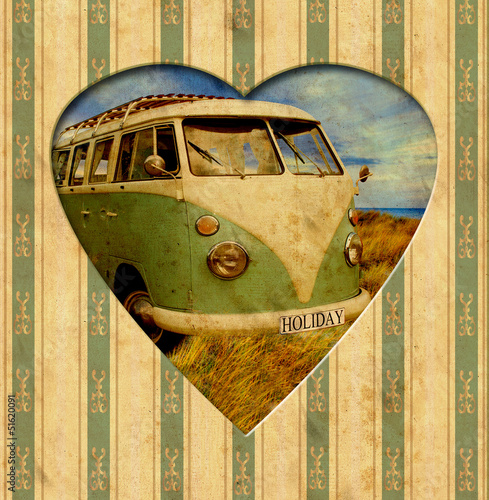 Spoed Foto op Canvas Vintage Poster Vintage Heart - Holiday