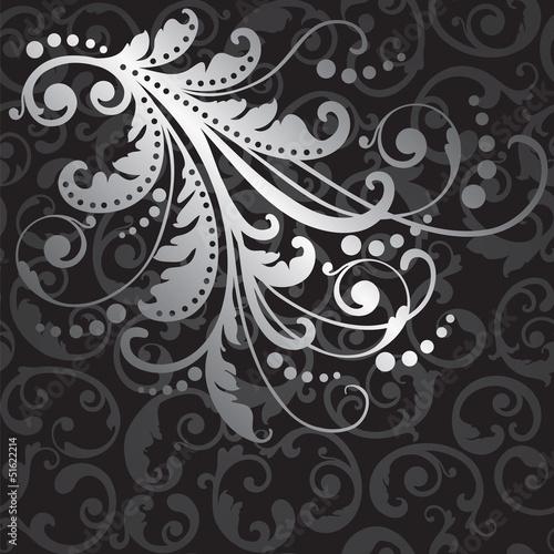 element-kwiatowy-wzor-srebrny-na-czarnym-wiruje-wzor