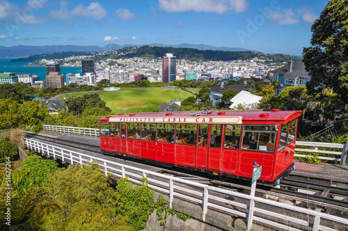 Photo Stands New Zealand Cable Car Bahn in Wellington