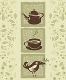 Retro illustration with teacup, teapot and cute bird