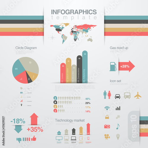 Fotografía  Infographics design elements template. Chart, graph, diagram