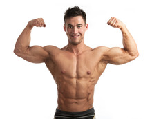 Waist-up Portrait Of Muscular Man Flexing His Biceps