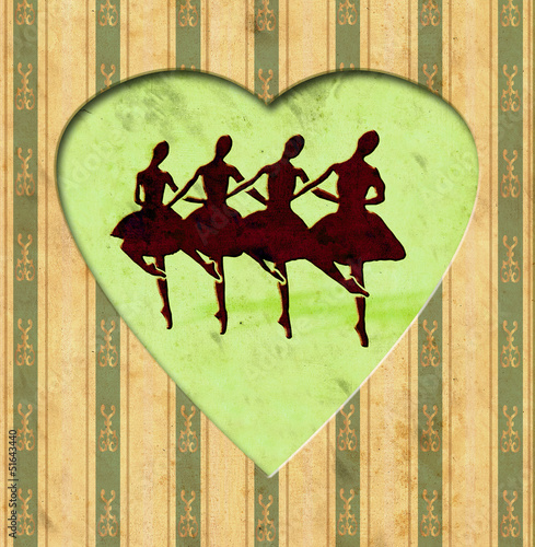 Photo sur Toile Affiche vintage Vintage Heart - Tanztheater