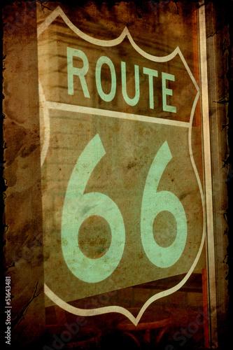 Foto op Canvas Vintage Poster Retroplakat - Route 66