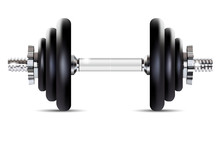 Metal Dumbbell - Isolated On W...