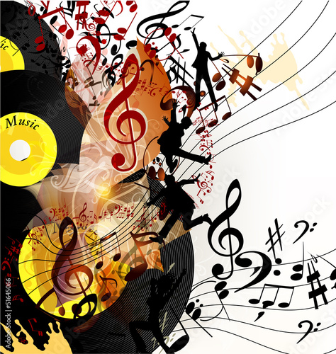 Fototapeta na wymiar Artistic music background with vinyl record and notes in psyche