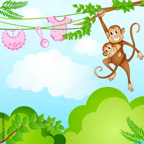 Poster de jardin Zoo vector illustration of monkey swinging with kid